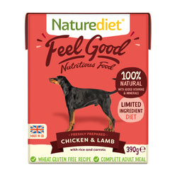 Naturediet Feel Good Chicken & Lamb Wet Adult Dog Food Cartons 390g x 18 Feel Good