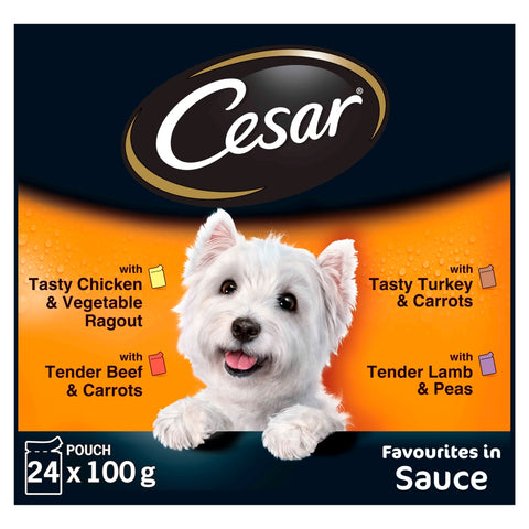 Cesar Pouch Deliciously Fresh Favourites in Sauce Adult Dog Food 100g x 24