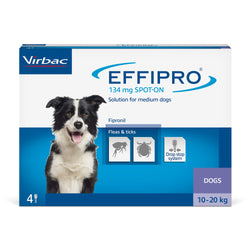 Virbac Effipro Spot On Flea & Tick Treatment Dog Medium Dog 10-20kg (4 pipettes) GSL