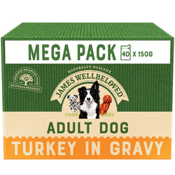 James Wellbeloved Turkey & Rice Adult Dog Pouches 150g x 40 MEGA PACK