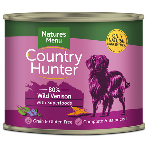 Natures Menu Country Hunter Venison Adult Dog Food Cans 600g x 6