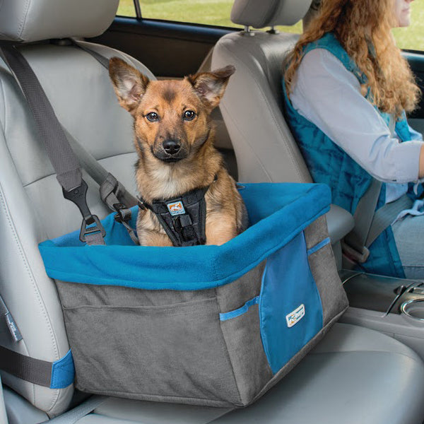 Kurgo Heather Dog Booster Seat  Charcoal & Blue