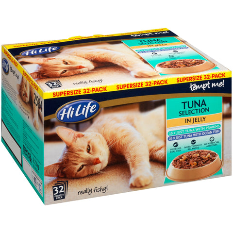 HiLife Tempt Me! Pouch Tuna Selection Jelly Adult Cat Food 32 x 85g
