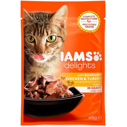 IAMS Delights Chicken & Turkey in Gravy Adult Cat Food 85g x 24