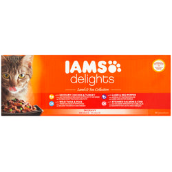IAMS Delights Land & Sea Collection in Gravy Adult Cat Food  85g x 48