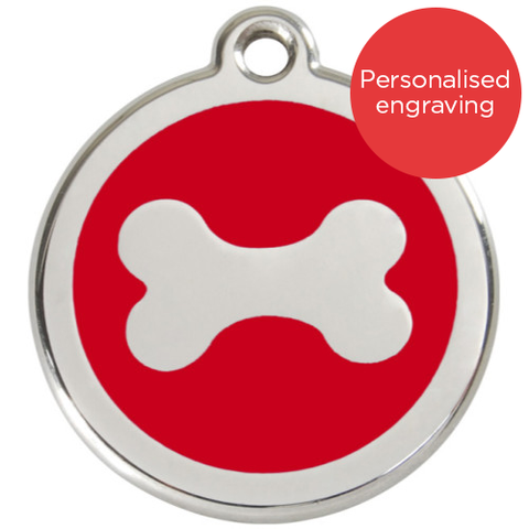 Red Dingo Dog ID Tag Stainless Steel & Enamel Bone Red