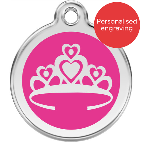 Red Dingo Dog ID Tag Stainless Steel & Enamel Crown Hot Pink