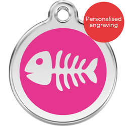 Red Dingo Cat ID Tag Stainless Steel & Enamel Fish Bones Hot Pink