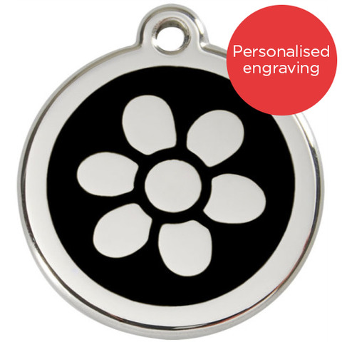 Red Dingo Dog ID Tag Stainless Steel & Enamel Flower Black