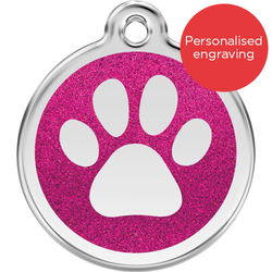 Red Dingo Dog ID Tag Glitter Enamel Pawprint Hot Pink