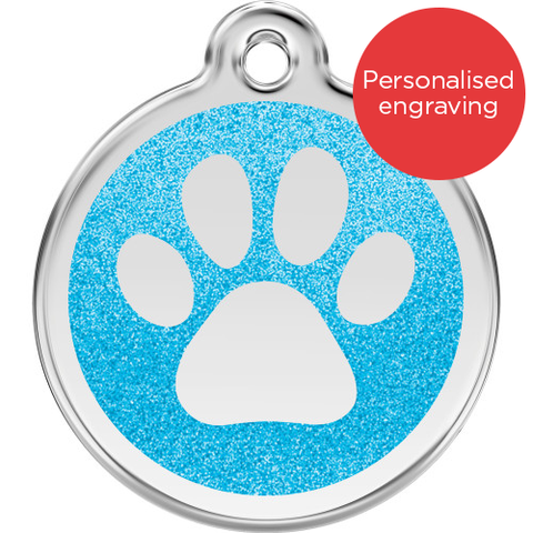 Red Dingo Dog ID Tag Glitter Enamel Pawprint Light Blue