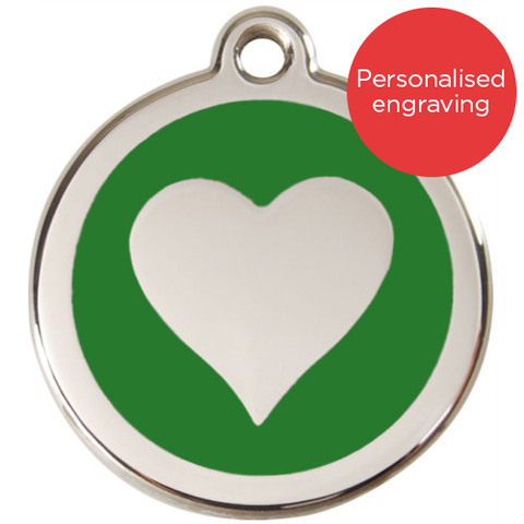 Red Dingo Dog ID Tag Stainless Steel & Enamel Heart Green