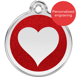 Red Dingo Dog ID Tag Glitter Enamel Heart Red