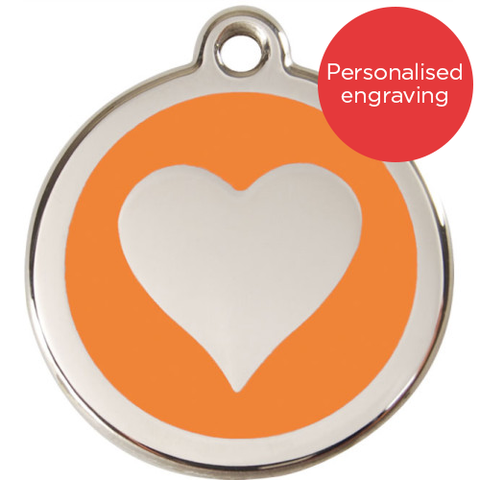Red Dingo Dog ID Tag Stainless Steel & Enamel Heart Orange