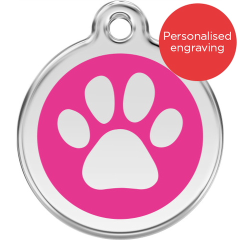 Red Dingo Cat ID Tag Stainless Steel & Enamel Paw Print Hot Pink