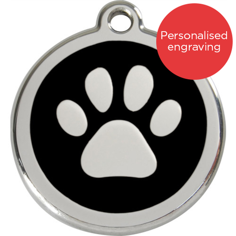 Red Dingo Cat ID Tag Stainless Steel & Enamel Paw Print Black