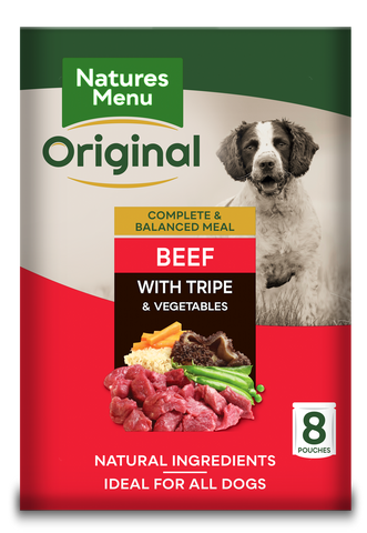 Natures Menu Original Beef & Tripe Adult Dog Food Pouches 300g x 8