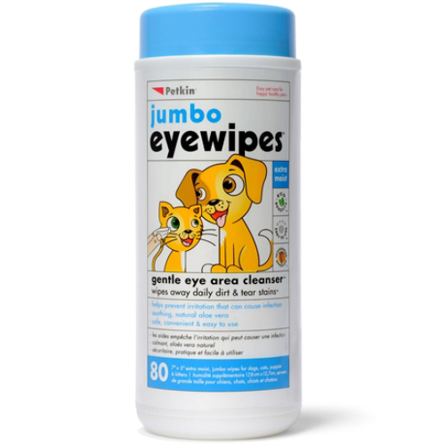 Petkin Jumbo Eye Wipes for Cats & Dogs 80 wipes