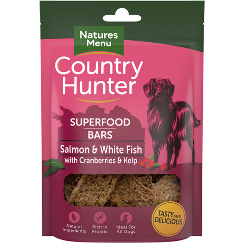 Natures Menu Country Hunter Salmon & White Fish with Cranberries & Kelp Superfood Bar Dog Treat 100g