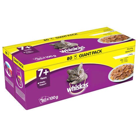 Whiskas 7+ Poultry Selection in Jelly Cat Food 100g x 80