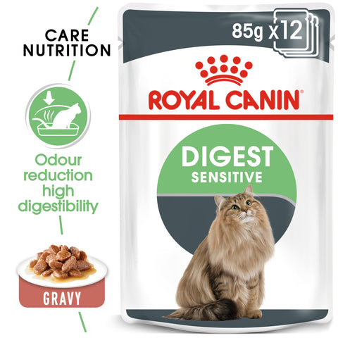 Royal Canin Digest Sensitive Care in Gravy Adult Wet Cat Food Pouches 85g x12