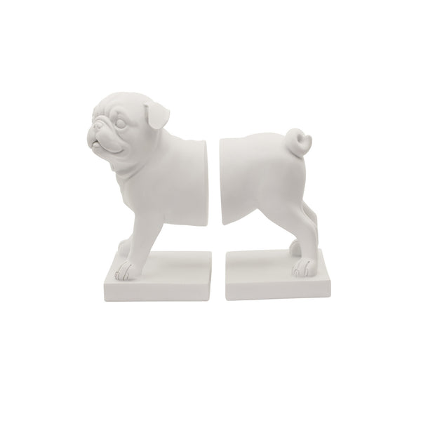 Aufora Pug Dog Bookends - Set of 2 in White