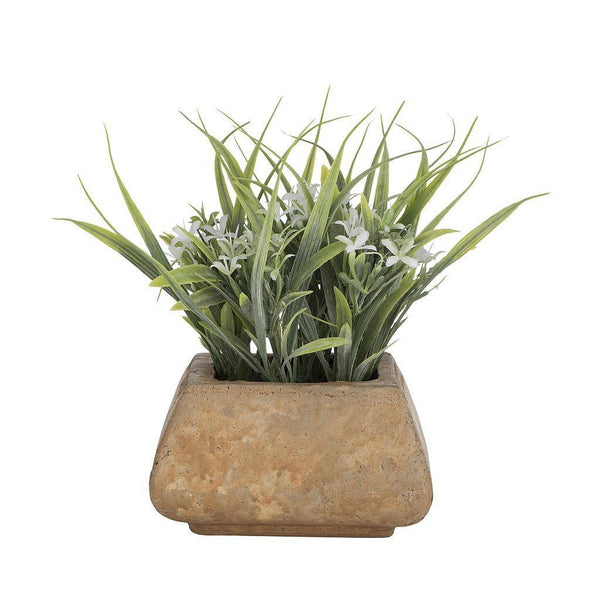 Artificial Grass Flower Plant in Square Rustic Pot
