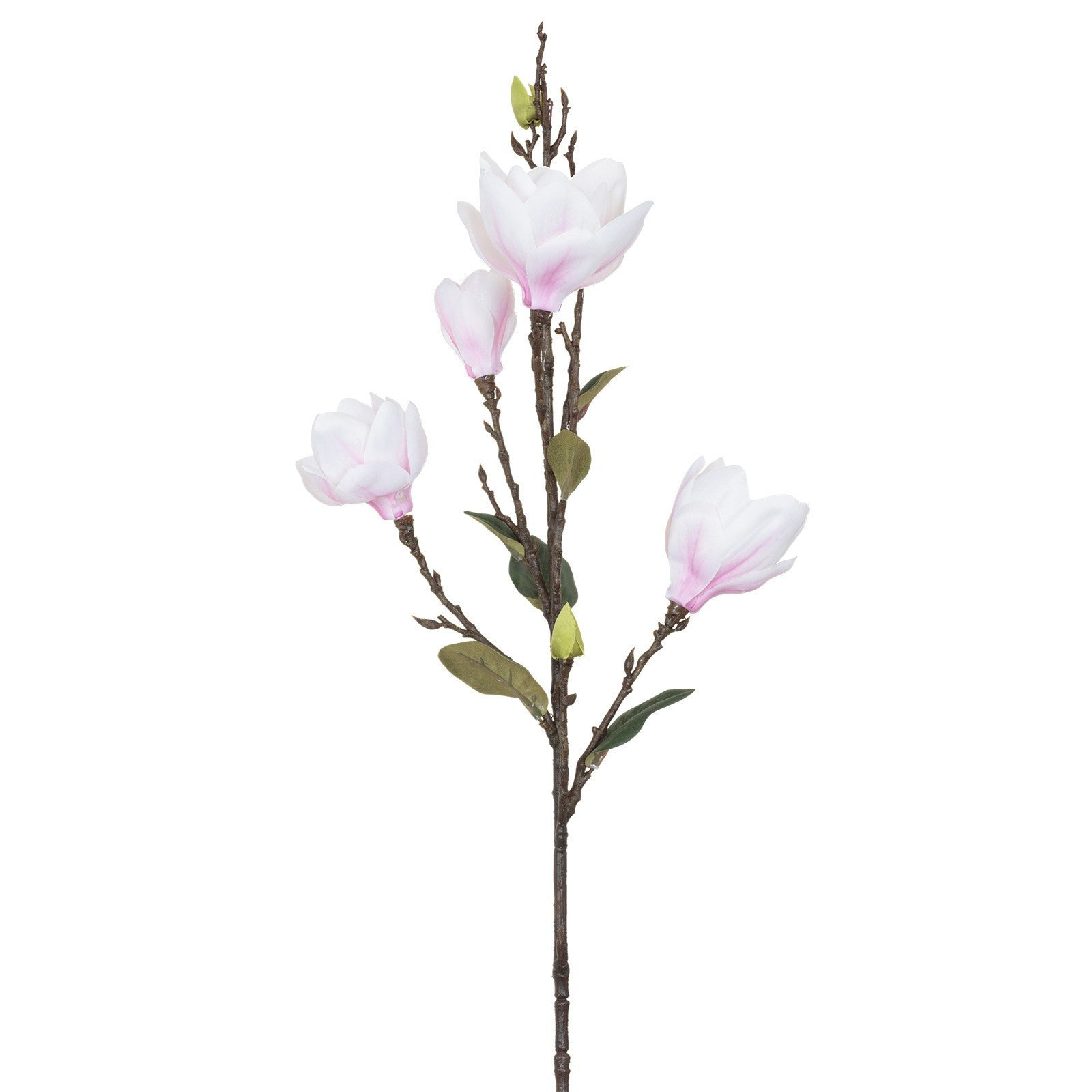 Artificial Pink White Magnolia Flower, Large Bloom H 93 cm