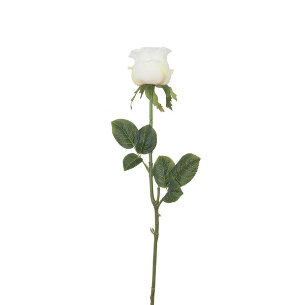 Artificial White Rose with Prickly Stem H 60 cm