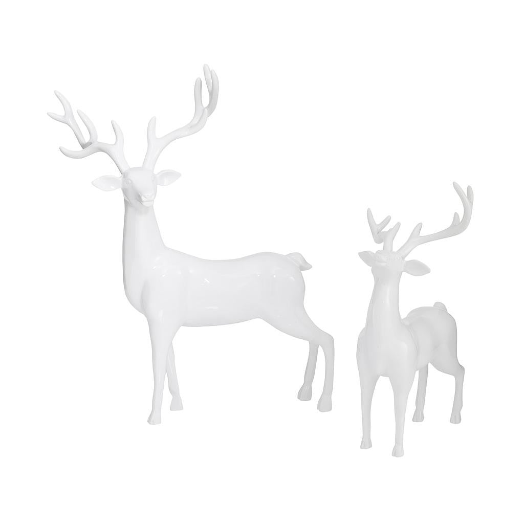 White Deer Ornaments - Set of 2