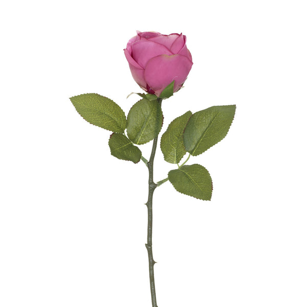 Artificial Pink Rose with Prickly Stem H 35 cm
