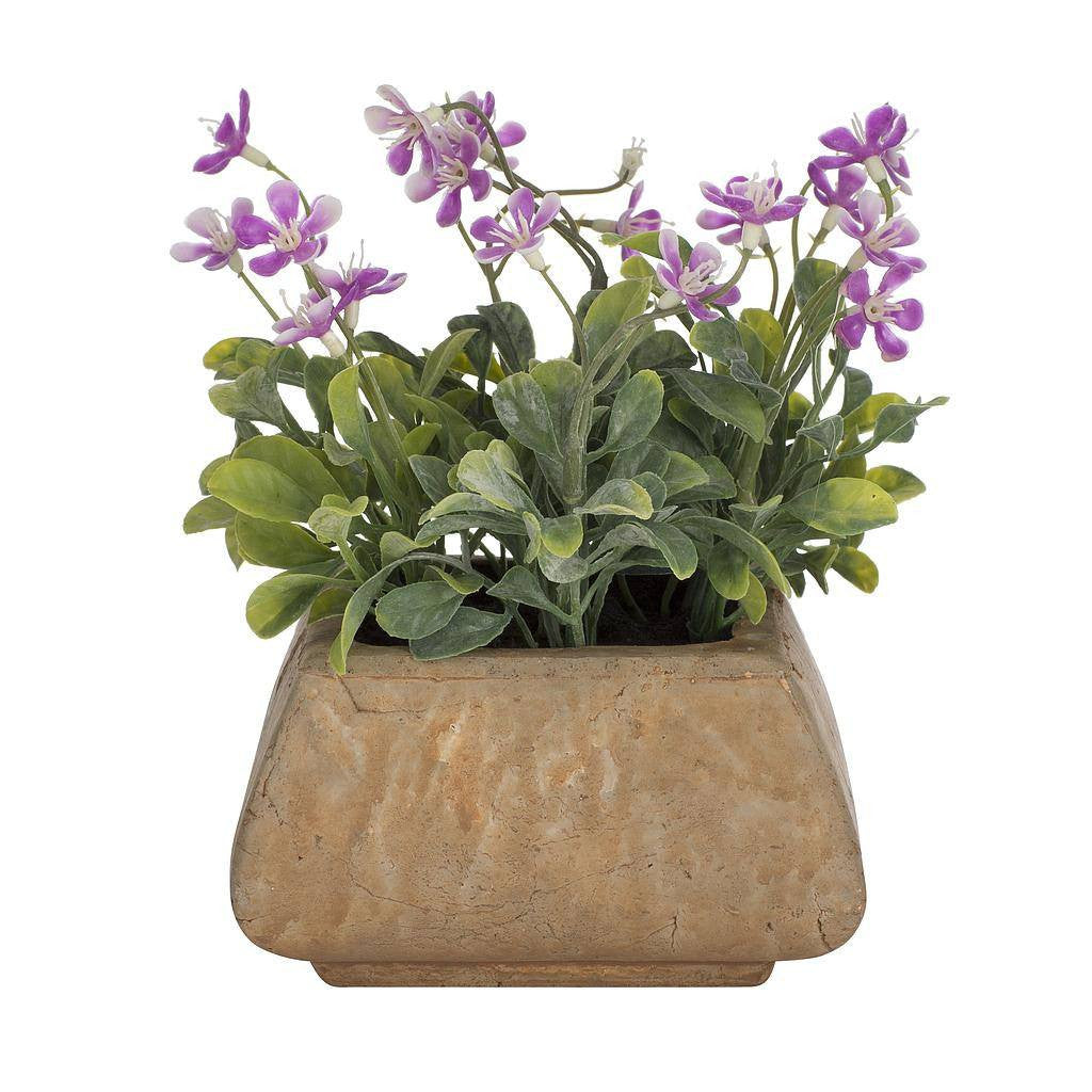 Artificial Lilac Flower Plant in Square Rustic Pot