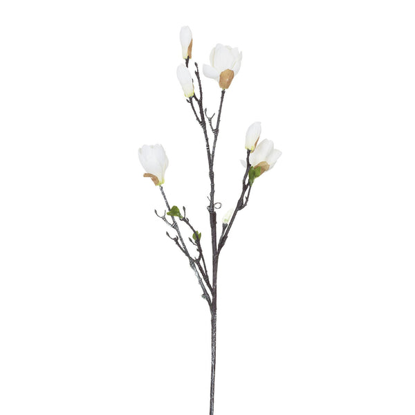 Artificial White Magnolia Flower, Small Bloom H 84 cm