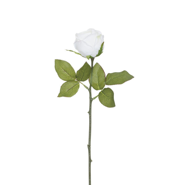 Artificial White Rose with Prickly Stem H 35 cm