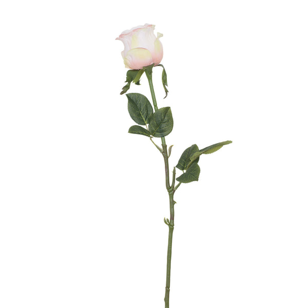Artificial Pink White Rose with Prickly Stem H 60 cm