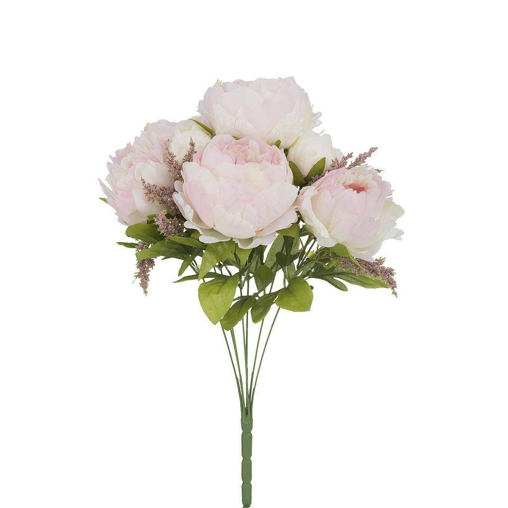 Artificial White Pink Peonies Flower - H 45 cm