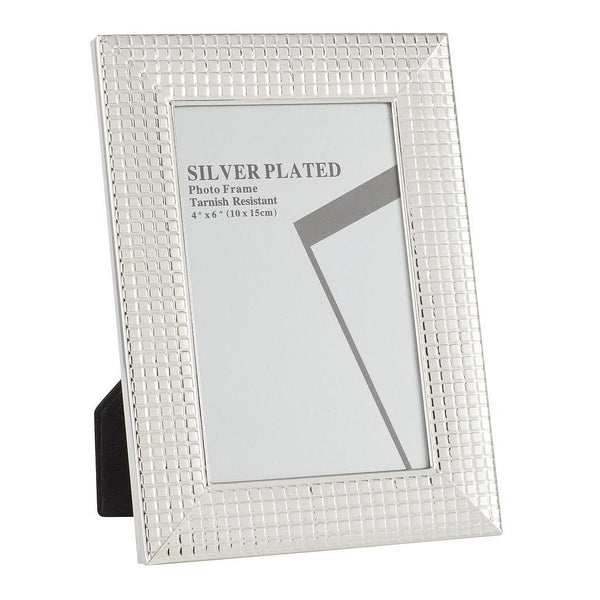 "Silver Plated Picture Frames, 4 x 6"", Silver Mosaic Tiles"