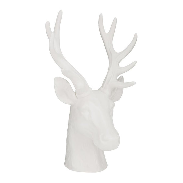 White Stag Head Ornament Sculpture