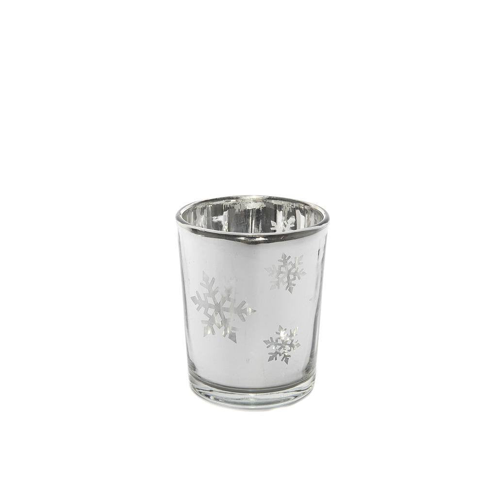 Votive Silver Snowflake Tea Light Candle Holder