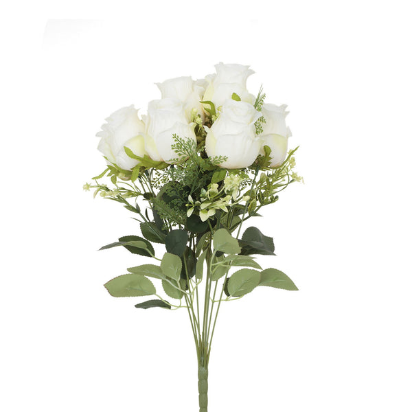 Artificial Decorative White Roses Bouquet Bunch H 48 cm