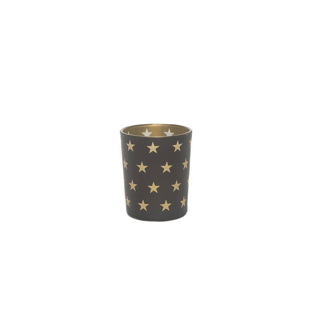 Votive Gold Black Candle Holders in Star Pattern