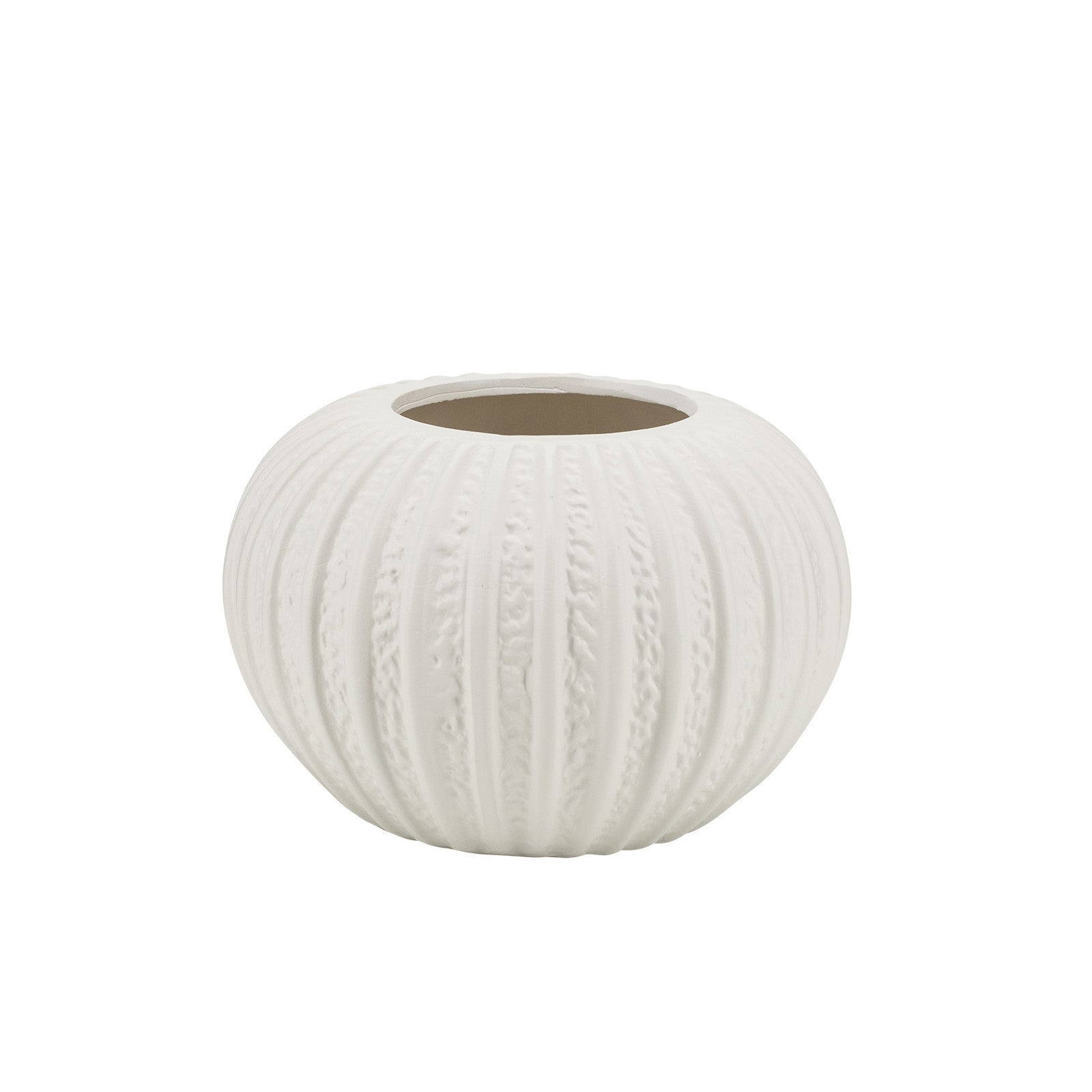 Short White Textural Vase in White
