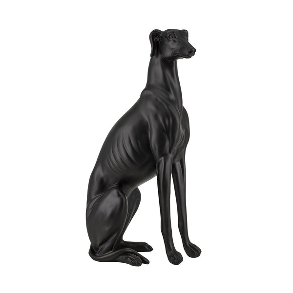 Floorstanding Whippet Dog Statue Ornament in Black