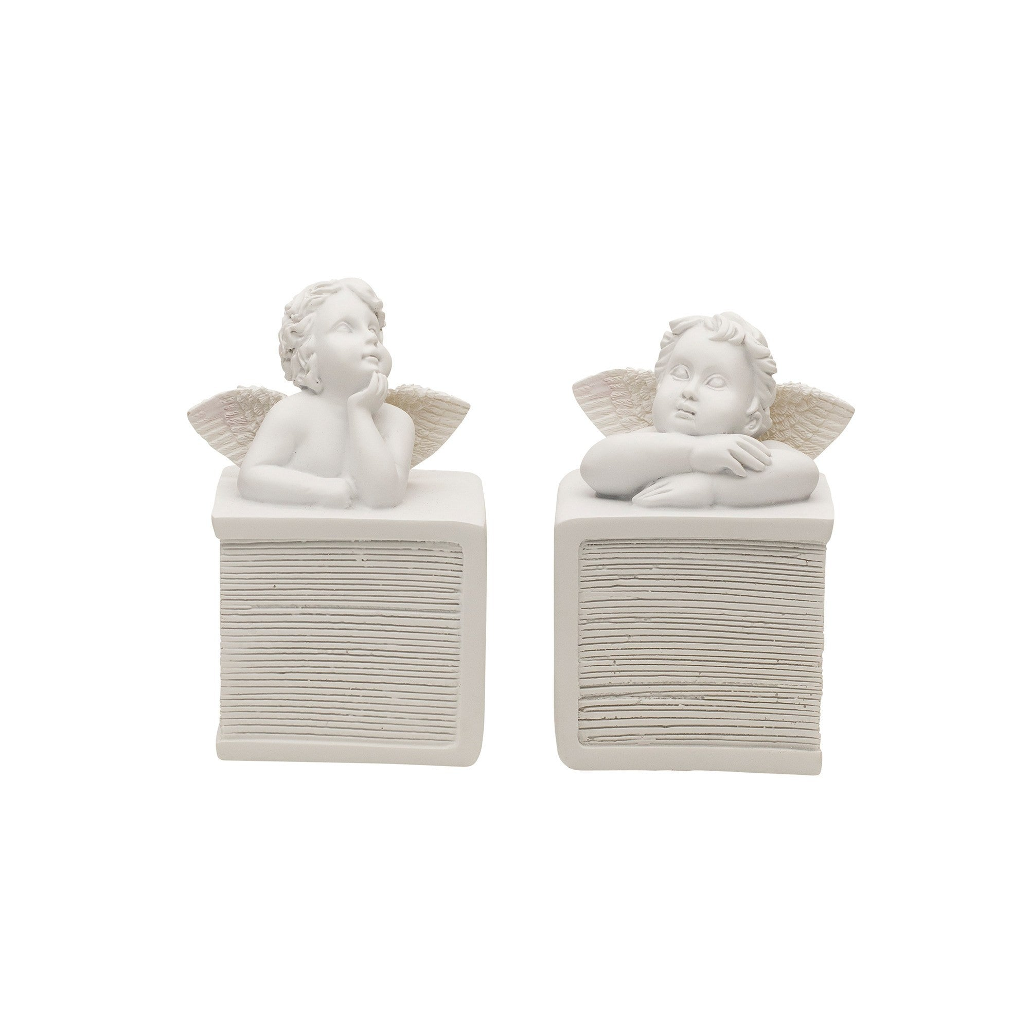 Angelic Cherub Bookends - Set of 2 in White