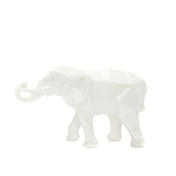 White Geometric Elephant Ornament