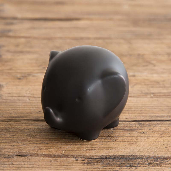 Cute Elephant Ornament in Black on desk