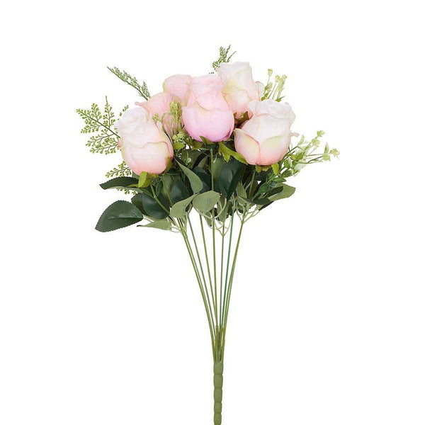 Artificial Decorative Light Pink Roses Bouquet Bunch H 48 cm
