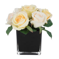 Potted Artificial Peach Roses in Square Black Vase by Aufora