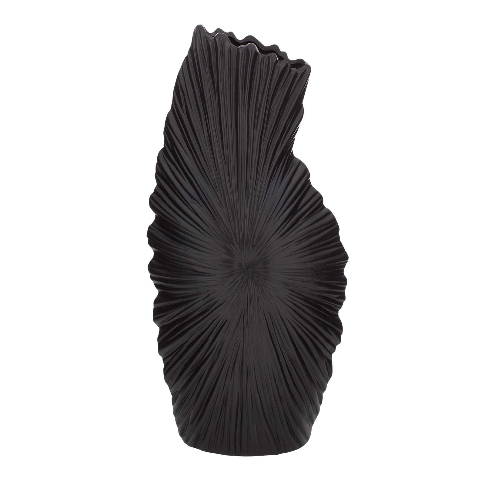 Tall Ceramic Nautical Seashell Vase Black by Aufora