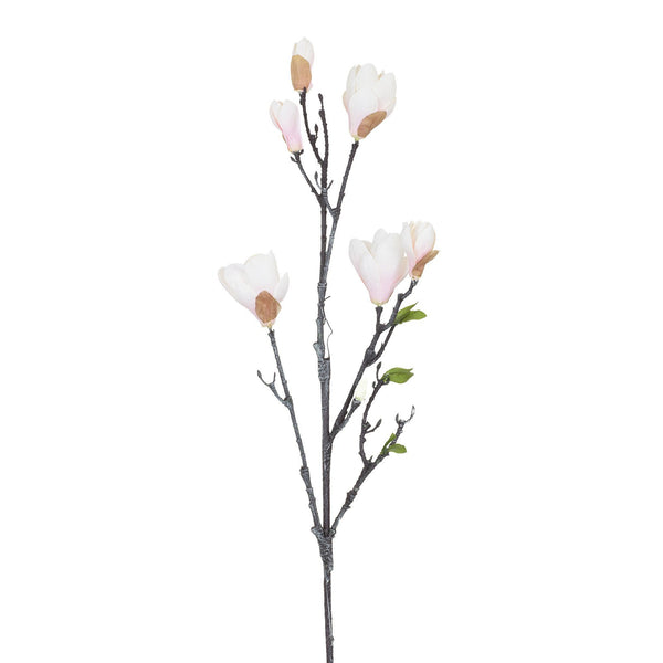 Artificial Pink White Magnolia Flower, Small Bloom H 84 cm